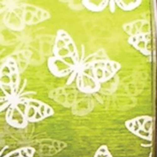"Green and White Small Butterfly Craft Ribbon 2"" x 55 Yards - IMAGE 1"