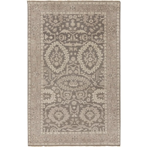 5.5' x 8.5' Traditional Brown and Gray Hand Knotted Wool Area Throw Rug - IMAGE 1