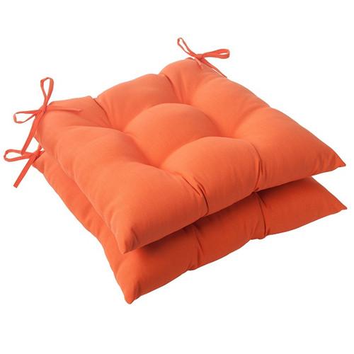 """Set of 2 Orange Sunrise Outdoor Tufted Patio Seat Cushions 19"""" - IMAGE 1"""