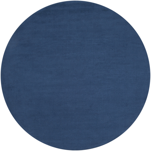8' Blue Solid Hand-Loomed Wool Round Area Throw Rug - IMAGE 1