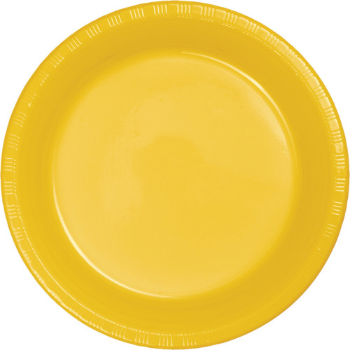 """Club Pack of 240 Yellow Round Disposable Party Lunch Plates 6.75"""" - IMAGE 1"""