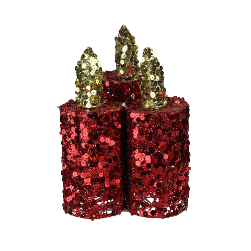"9"" Red and Gold Flameless Sequin LED Lighted Christmas Pillar Candle Tabletop Decor - IMAGE 1"