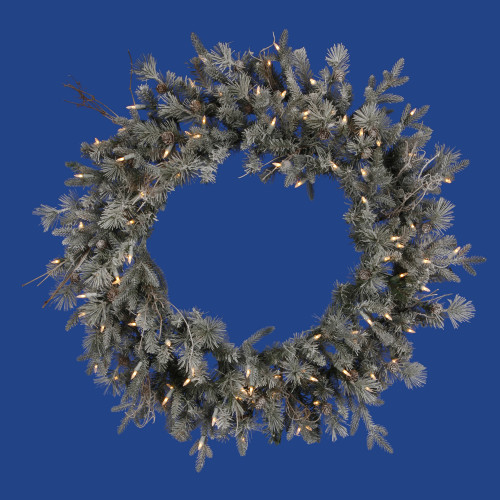 Pre-Lit Frosted Wistler Fir Artificial Christmas Wreath - 36-Inch, Clear Dura Lights - IMAGE 1