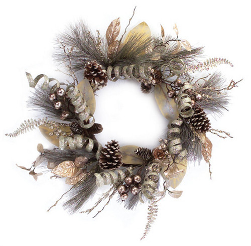 White and Brown Berry with Pine Cone Artificial Christmas Wreath - 24-Inch, Unlit - IMAGE 1