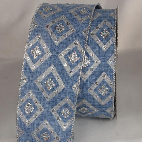 "Blue Glittered Diamond Print Wired Craft Ribbon 2.5"" x 20 Yards - IMAGE 1"