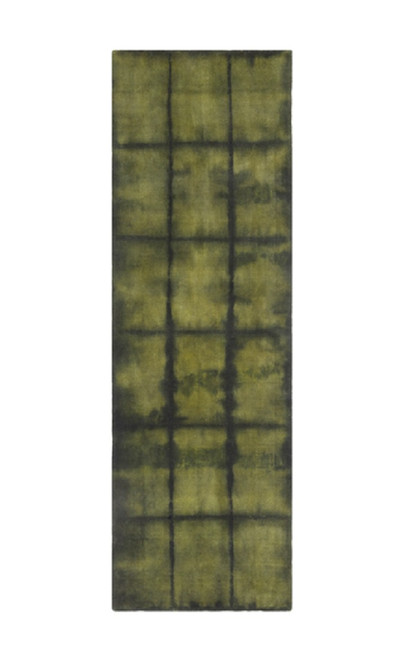 2.5' x 8' Green and Black Wool Area Throw Rug Runner - IMAGE 1