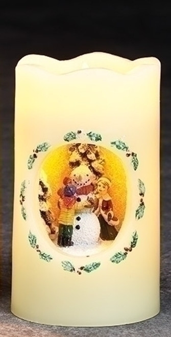 """5"""" Pre-Lit White and Yellow LED Festive Snowman Flickering Flameless Christmas Candle - IMAGE 1"""