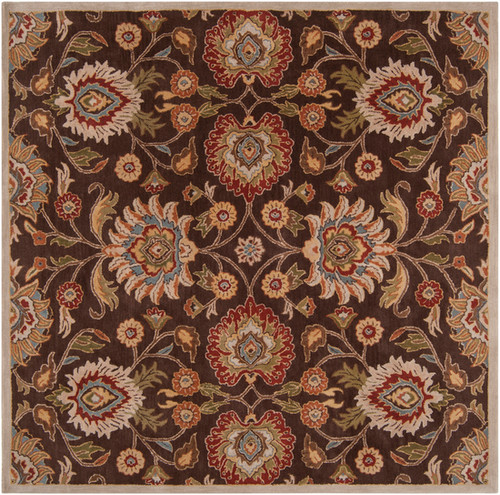 8' x 8' Floral Olive Green and Russet Brown Square Wool Area Throw Rug - IMAGE 1