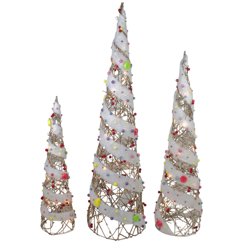"Set of 3 Champagne Gold Lighted Rattan Candy Covered Cone Tree Outdoor Christmas Decorations 39.25"" - IMAGE 1"