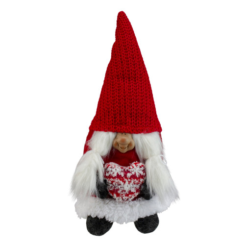 "13.5"" Red and Gray Smiling Woman Christmas Gnome Tabletop Figure - IMAGE 1"