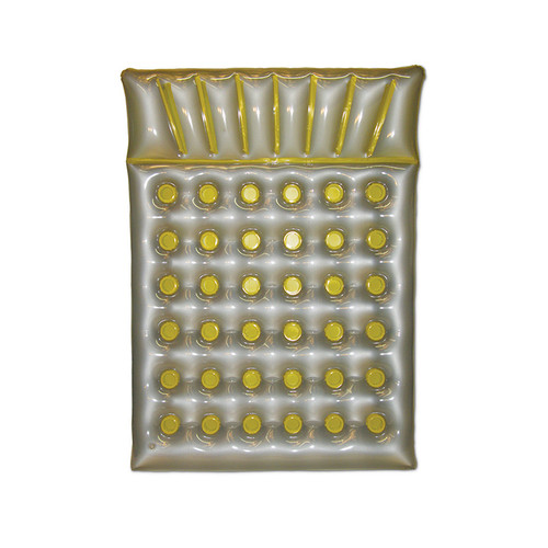 """78"""" Inflatable Silver and Yellow Swimming Pool Double Mattress Float - IMAGE 1"""