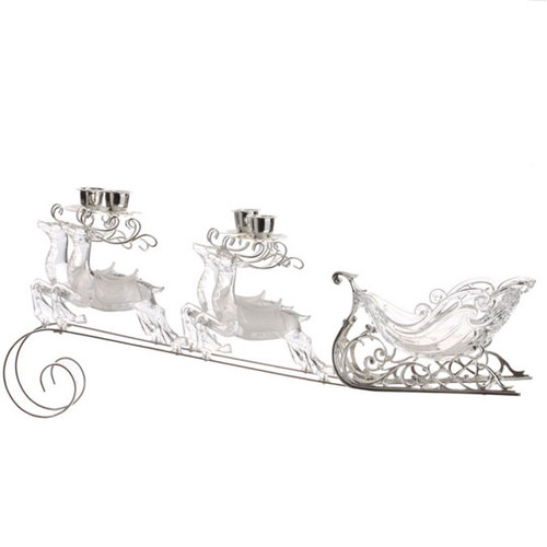 """20"""" White and Clear Sleigh Taper Christmas Candle Holder - IMAGE 1"""