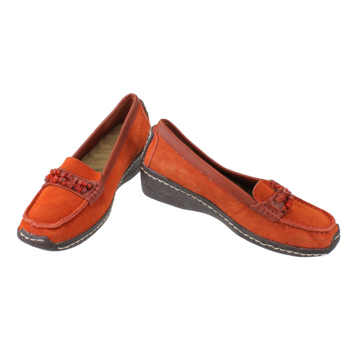 1ddd001750e4f Women's Orange Suede Cushion Wedge Shoes with Stone Strap Accent - Size 6 -  28864565