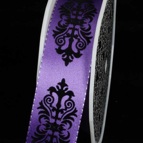 "Purple and Black Royal Wired Craft Ribbon 1.5"" x 27 Yards - IMAGE 1"