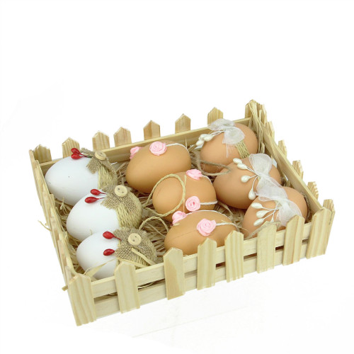 """Set of 9 White and Brown Easter Egg Ornaments 2.25"""" - IMAGE 1"""