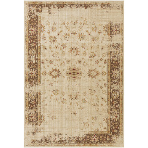 1.75' x 2.75'  Egyptian Garden Chocolate Brown and Beige Area Throw Rug - IMAGE 1