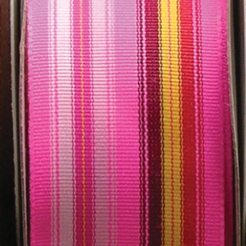 """Pink, Green and Yellow Striped Grosgrain Woven Craft Ribbon 1"""" x 55 Yards - IMAGE 1"""