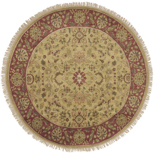 8' Eastern Jewels Beige and Brown Round New Zealand Wool Area Throw Rug - IMAGE 1