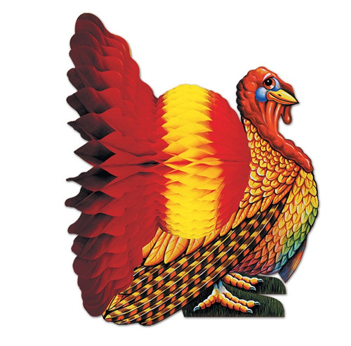 """Club Pack of 12 Vibrantly Colored Thanksgiving Turkey Centerpieces 12"""" - IMAGE 1"""