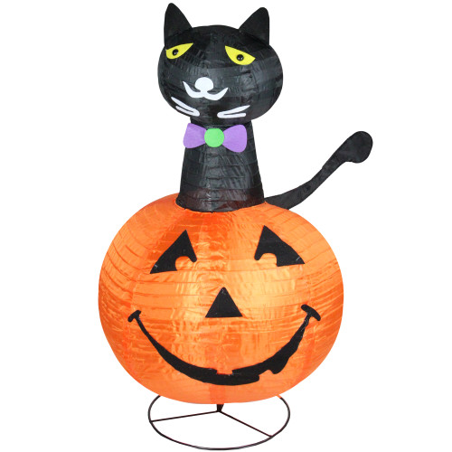 3' Orange and Black Lighted Cat on a Pumpkin Outdoor Halloween Yard Decor - IMAGE 1