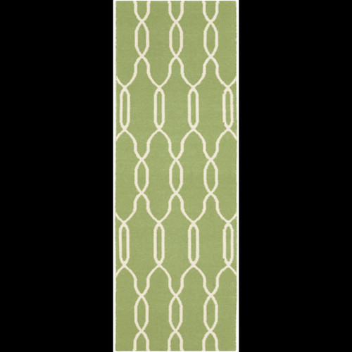 2.5' x 8' Green and White Reversible Area Throw Rug - IMAGE 1