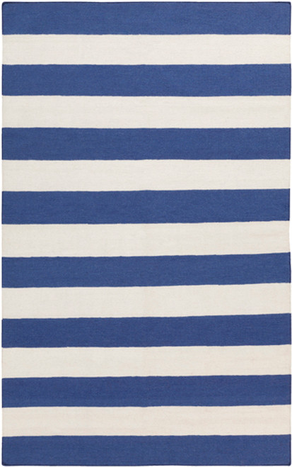 3.5' x 5.5' Accumbent Navy Blue and Ivory Hand Woven Striped Rectangular Wool Area Throw Rug - IMAGE 1