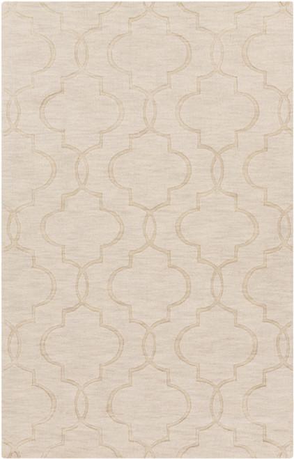 8' x 11' Night Shadow Beige Hand Loomed Rectangular Wool Area Throw Rug - IMAGE 1