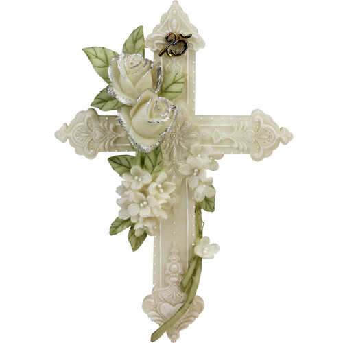 25th Silver Wedding Anniversary Floral Wall Cross Gift - IMAGE 1