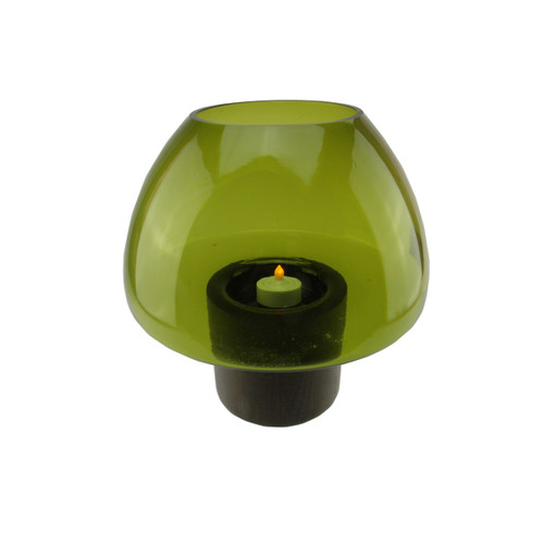 "9.75"" Transparent Olive Green Glass Candle Holder with Wooden Base - IMAGE 1"