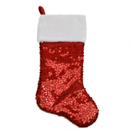 """20.5"""" Red and White Holographic Sequin Christmas Stocking with Cuff - IMAGE 1"""