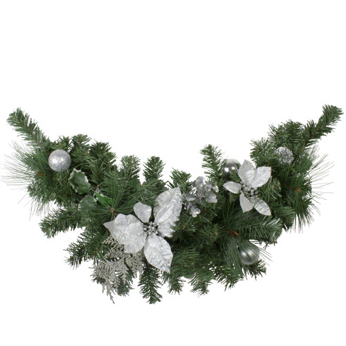 "30"" Silver Poinsettia and Pinecone Artificial Christmas Swag - Unlit - IMAGE 1"