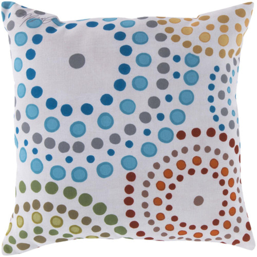"18"" White and Blue Polka Dots Outdoor Square Throw Pillow - IMAGE 1"