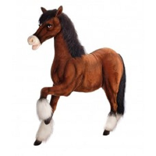 """62.5"""" Brown and White Handcrafted Soft Plush Prancing Clydesdale Horse Stuffed Animal - IMAGE 1"""