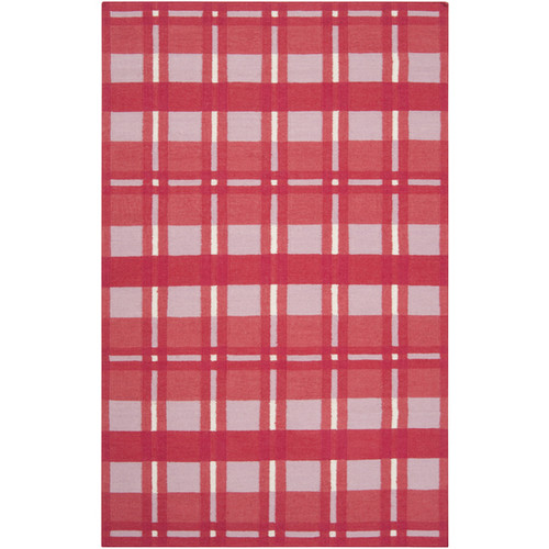 5' x 8' White and Red Plaid Pattern Rectangular Wool Area Throw Rug - IMAGE 1