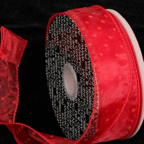 """Red Polka Dotted Wired Craft Ribbon 2.5"""" x 40 Yards - IMAGE 1"""