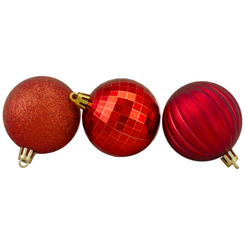 "100ct Red Shatterproof 3-Finish Christmas Ball Ornaments 2.5"" (60mm) - IMAGE 1"