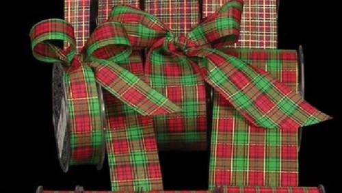 "Green and Red Tartan Ribbon 2"" x 132 Yards - IMAGE 1"