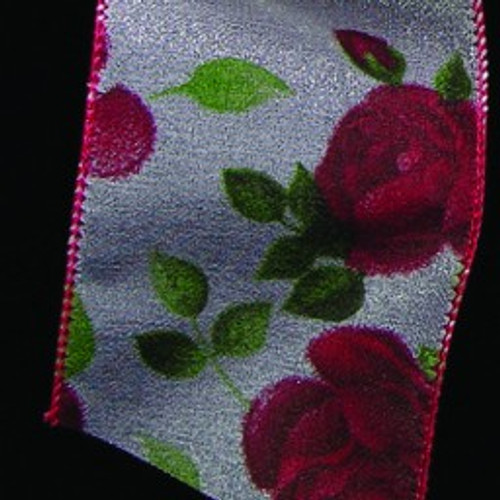 """Sheer White and Red Beautiful Roses Wired Craft Ribbon 2.5"""" x 20 Yards - IMAGE 1"""
