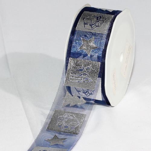 "Navy Blue and Silver Colored German Christmas Print Organza Craft Ribbon 1.5"" x 54 Yards - IMAGE 1"