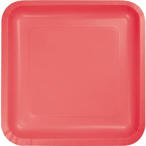 """Club Pack of 180 Decorative Square Coral Disposable Paper Luncheon Party Plates 7"""" - IMAGE 1"""