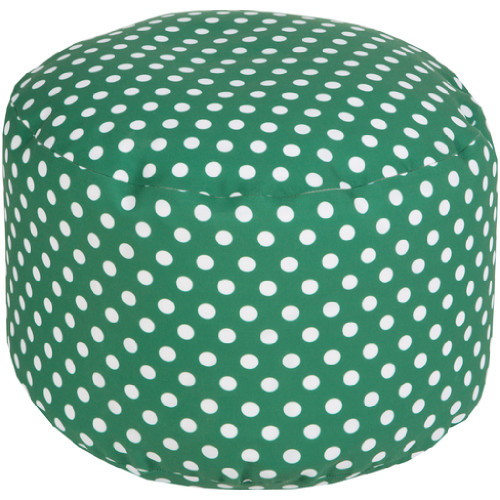 "20"" Emerald Green and Ivory Simply Polka Dot Round Outdoor Patio Pouf Ottoman - IMAGE 1"