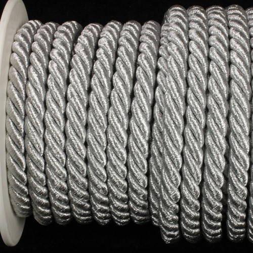 """Silver Braided Cording Wired Craft Ribbon 0.25"""" x 16 Yards - IMAGE 1"""