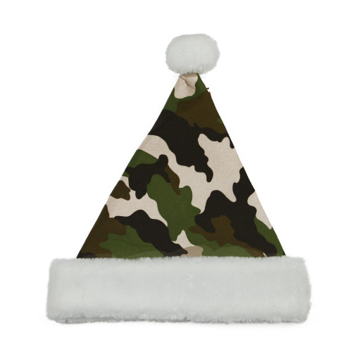 "21"" Green and White Camouflage Unisex Adult Christmas Santa Claus Hat Costume Accessory - Medium - IMAGE 1"