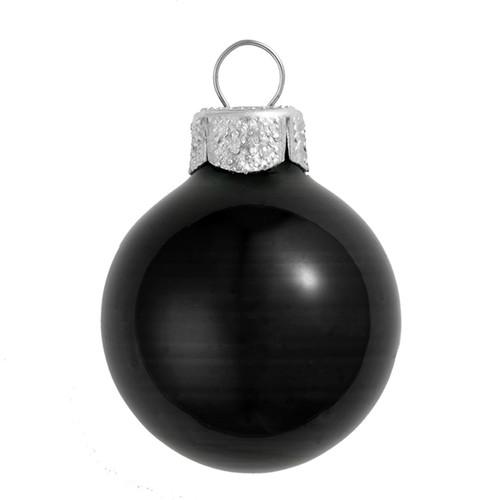 "4ct Black Shiny Glass Christmas Ball Ornaments 4.75"" (120mm) - IMAGE 1"