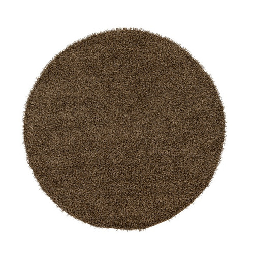 8' Plush of Furry Elegance Brown Hand Tufted Round Area Throw Rug - IMAGE 1