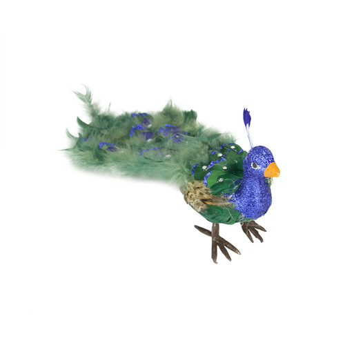 """19"""" Green and Blue Peacock with Closed Tail Feathers - IMAGE 1"""