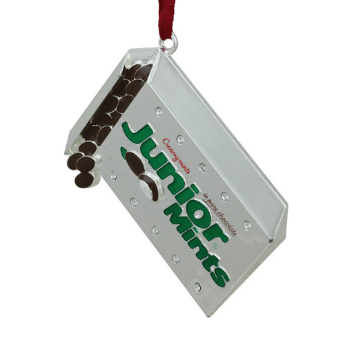 """3"""" Silver and Brown Plated Junior Mints Candy Bar Logo Christmas Ornament - IMAGE 1"""
