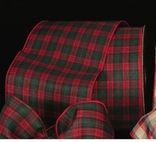 """Red and Green Plaid Wired Craft Ribbon 5"""" x 50 Yards - IMAGE 1"""