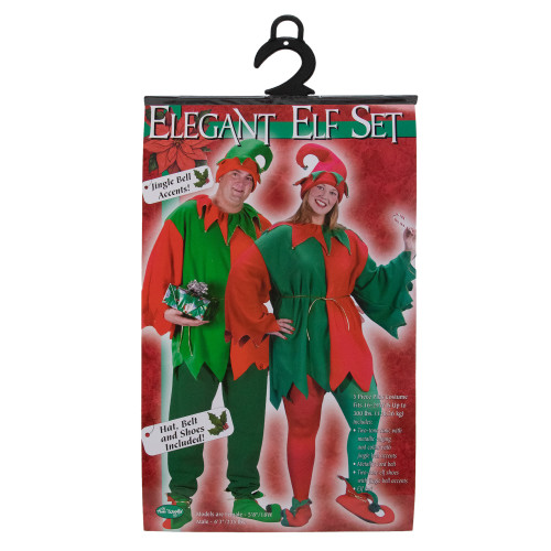 Red and Green Elf Adult Christmas Costume Set - Plus Size - IMAGE 1