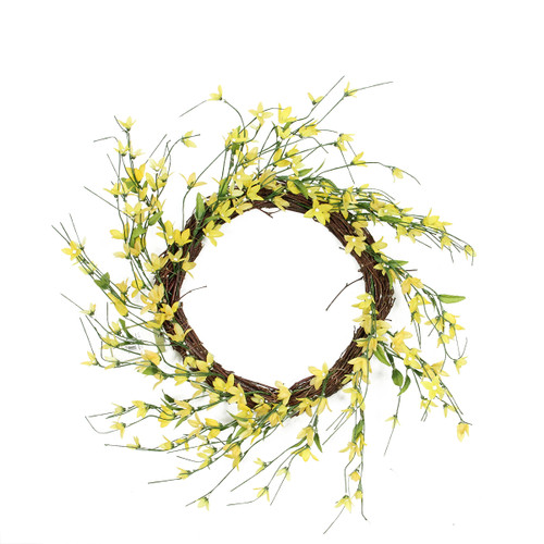 Forsythia Twig Artificial Floral Wreath, Yellow 12-Inch - IMAGE 1